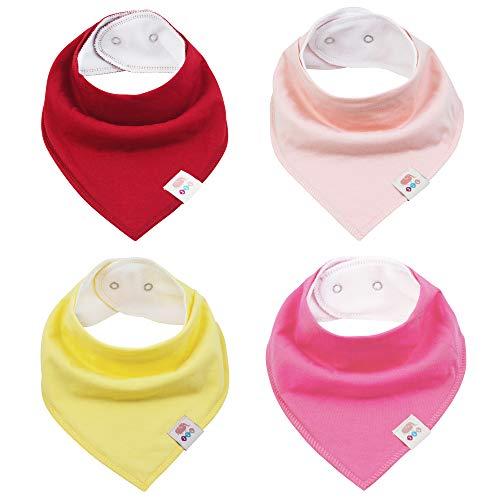 M.M.C. - Bavaglino triangolare, tinta unita, 4 pezzi, in cotone, con bottoni automatici regolabili, per bambini e bambine Set da bambina. taglia unica