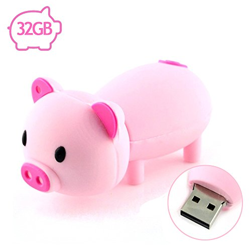 AreTop Flash Drive 32GB Pen Drive USB2.0 Cute Cartoon Miniature Pink Piggy Shape Memory Stick Thumb Drives for Date Storage Gift for School Students Kids Children Teacher Collegue Employees