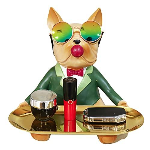 ZOGBX vacia Bolsillo Bandeja De Almacenamiento Clave, Anillo De Joyería Organizador De Platos, Bandeja De Almacenamiento Decoración De Escritorio, Lindo Bulldog Sculpture Fruit Cake Candy Bandeja