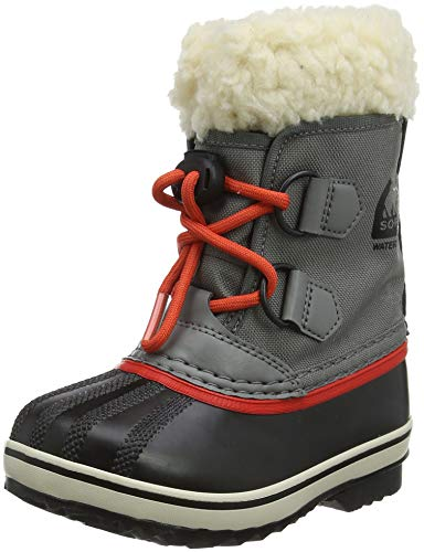 Sorel Kinder Childrens Yoot Pac Nylon Stiefel, grau (quarry)/rot (sail red), Größe: 27