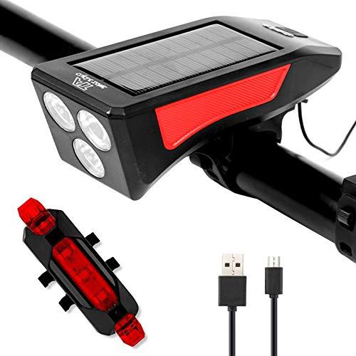 SEEZEN Fahrradlicht Set, LED Fahrradlicht mit Rücklicht, Solar oder USB wiederaufladbar, 3 Modi, 350 Lumen, wasserdicht IPX4