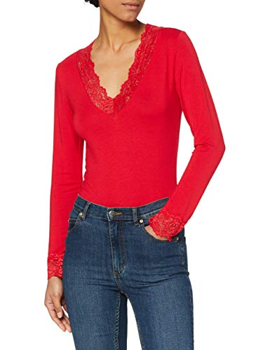 Morgan 182-TRACY.N T-shirt manches longues Femme Rouge (Tango Red 500) S