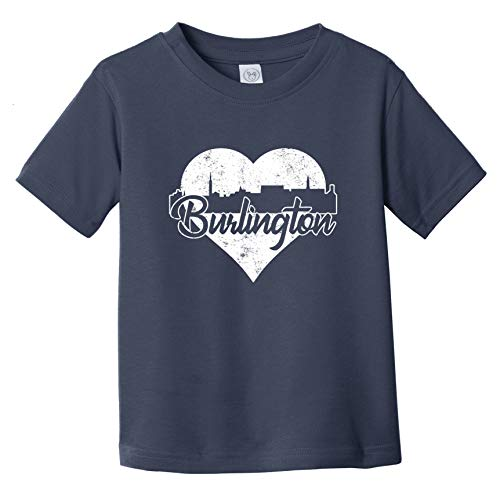 Really Awesome Shirts Retro Burlington Vermont Skyline Heart Distressed Infant Toddler T-Shirt, 12 Months Navy