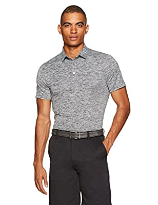 Amazon Essentials Men's Slim-Fit Tech Stretch Polo Shirt, Dark Grey Heather, Medium