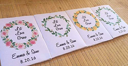 Floral wreath Personalized wedding seed packet favors with rustic heart theme (set of 50) - green wreath favors - pink wreath favors - yellow wreath favors