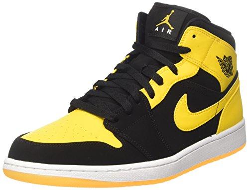 Nike Herren Air Jordan 1 Mid Basketballschuhe, Schwarz/Varsity Maize/Weiss, 46 EU