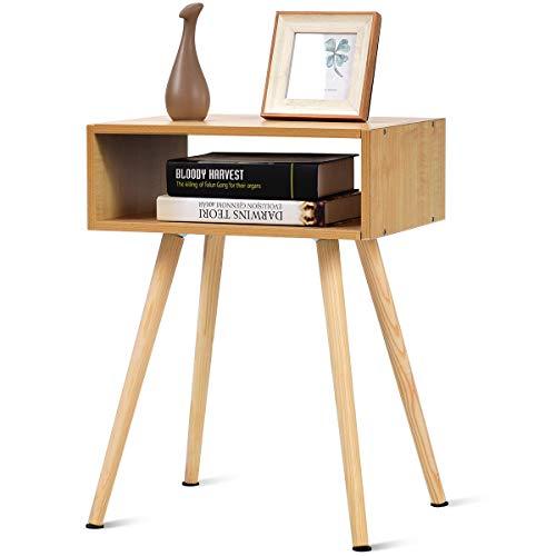 DREAMADE Nachtkommode Holz, Nachttisch Nachtschrank mit 4 Füße, Beistelltisch Wohnzimmertisch Flurkommode Flurtisch, Ablagetisch Telefontisch mit Schubladen und Ablageflache (Natur)