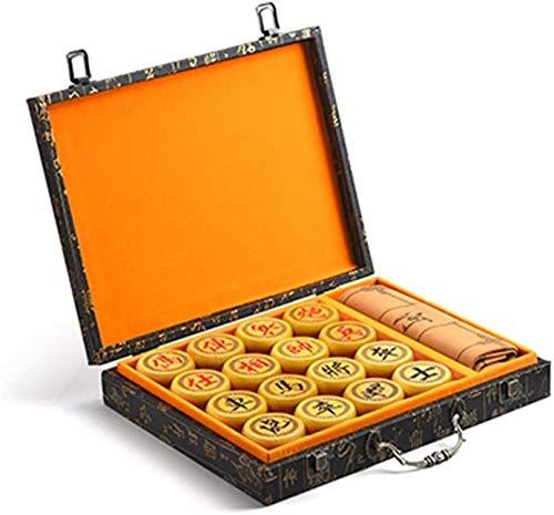 LIHUA Juego de ajedrez juegos de viaje adultos niños tablero de madera de ajedrez chino Set en caja de viaje Juegos de mesa Juegos DOC36 (color: oscuro)