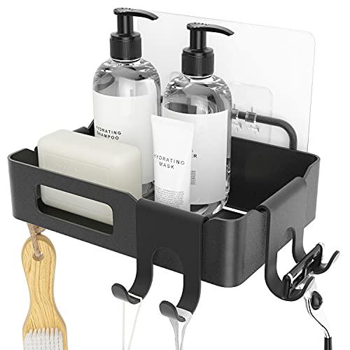 Duschkorb Duschregal schwarz Duschablage ohne Bohren, selbstklebend mit Haken aus Edelstahl Metall als Duschhalterung Badregal Kleberegal Shower Shelf Seifenschale Seifenablage für Shampoo