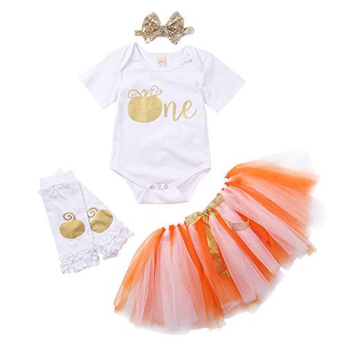 Conjunto de 3 piezas de ropa para bebé de manga corta con diseño de calabaza para 1er cumpleaños (blanco 2, 12-18 m)