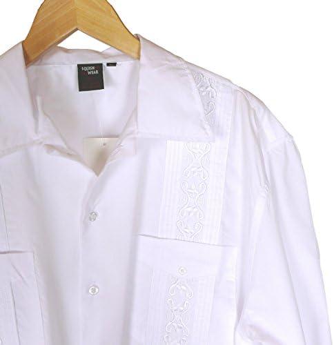 Squish cubana estilo guayabera camiseta, manga larga, color blanco