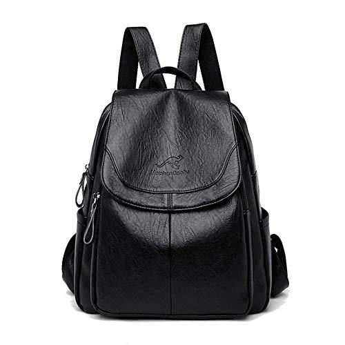 Ladies Backpack Leather Backpack Ladies Handbag Ladies Leather Waterproof Shoulder Bag Backpack Girl School Bag-Black_32*12 * 28CM