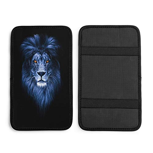 N\ A Car Center Console Cover Cool Beautiful Lion Indigo Animal Car Seat Center Console Armrest Cover Cushion Pads Universal Auto Middle Console Cover for Women Car Driving Handrail Box Decor