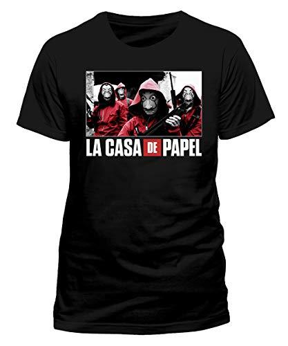 Casa de Papel T-Shirt, Schwarz, Foto und Logo, offizielles Produkt, 100 % Original Netflix TV Serie Maske Dalì Jersey Shirt (XS)