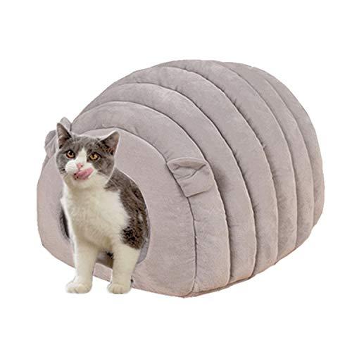 Ksweet Katzenhaus Winterfest Micro-Plüsch/Velours das Kuschelhöhle mit Wendekissen Katzenkorb zum Schlafen Warme Katzenbett für Katzen (L-51 * 41 * 35cm, Grau Kuschelhöhle)