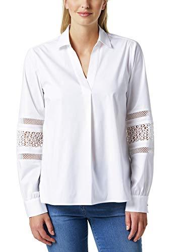 Walbusch Damen Bluse mit Spitzenärmel einfarbig Weiß 48 - Langarm