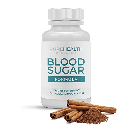 Blood Sugar Formula - 17 Natural Ingredients for Healthy Blood Sugar Levels & Support Healthy Blood Pressure with Chromium, Berberine and Cinnamon - PureHealth Research, 1 Bottle