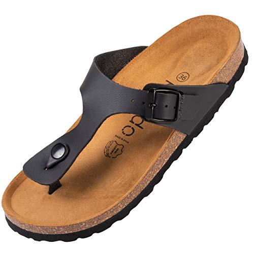 Palado® Damen Zehentrenner Kos   Made in EU   Sandalen in 16 Farben   Pantoletten mit Natur Kork-Fussbett und angenehm weichem Fußbett   Sohle aus feinem Velourleder Schwarz Matt 37 EU