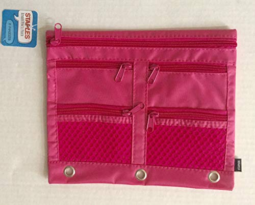 Staples 3-Ring Binder Pencil Pouch Pink