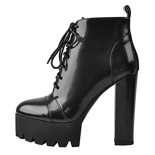Only maker Damen Stiefeletten Plateau Ankle Boots mit Reißverschluss Schnürung Blockabsatz Winter Schuhe Schwarz Lack EU 43