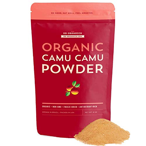 SB Organics Camu Camu Powder - 8 oz Bag of Organic Non-GMO Kosher Freeze-Dried Camu Camu Berry Pulp Powder from Brazil - Naturally Rich in Vitamin C and Antioxidants