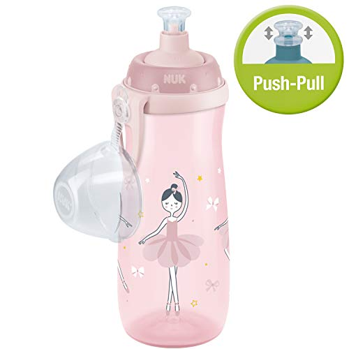 Nuk Sports Cup Trinklernflasche, auslaufsicher, Push-pull-Tülle aus Silikon, Schutzkappe & Clip, 450 ml, Ballerina (Rosa)