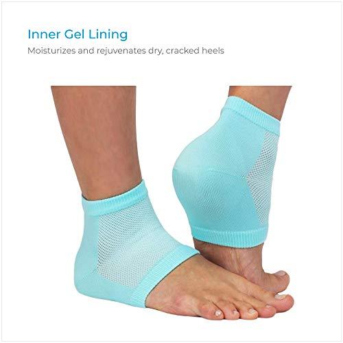 NatraCure Vented Moisturizing Gel Heel Sleeves - (Skin softening footcare treatment socks for Cracked heels, Dry feet, Foot calluses, Rough heel socks - (608-M CAT) - Color: Aqua Blue - Size: Regular
