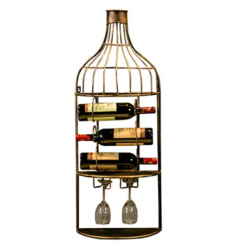 3 Bottles Metal Wine Rack Wall Mounted Bottle Holder 2 Wine Glass Shelf Ideal for Home Bars Coffee Shops by Home Decor Studio
