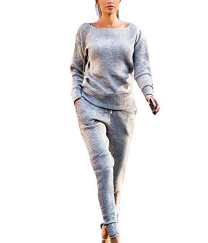 Babao Damen Casual Strickanzug 2 Stück - Damen Trainingsanzug Gestrickte Langarm Hose Outfit Set