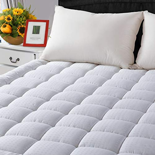 LEISURE TOWN King Cooling Mattress Pad Cover(8-21' Deep Pocket)-Fitted Quilted Mattress Topper Down Alternative Fill