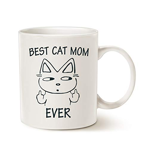 MAUAG Funny Cat Mom Coffee Mug for Cat Lovers, Best Cat Mom Ever Best Cute Mothers Day Idea for Mom Cup White, 11 Oz