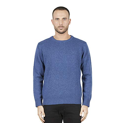 Pullovers heren trui met ronde hals in 100% Australian wol kleur blauwe Avio