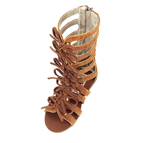 Brown Little Girls Ankle Gladiator Sandals