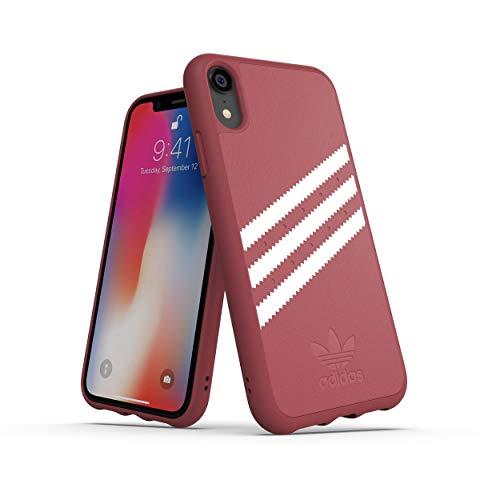adidas Moulded Suede - Carcasa para Apple iPhone XR, Color Rosa Malva y Blanco