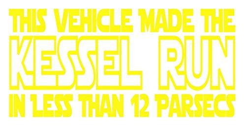 UR Impressions BYel This Vehicle Made The Kessel Run… Calcomanía de vinilo para coche, camión, SUV, furgoneta, ventana de pared, portátil, color amarillo brillante, 20,3 x 10,3 cm, URI554-BY