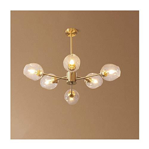 Lámpara de techo de cobre nórdico, diseño de judías mágico, lámpara molecular, para salón creativo, dormitorio, comedor, colgante de cristal luz (color 6 heads)