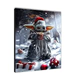 Star Wars Christmas Decorations Lovely Child Mandalorian Poster Canvas Printing Suitable Hang for Office Living Room Home and Bathroom Wall Art Decoration Posters Santa RONA (Frame,16x20inch)