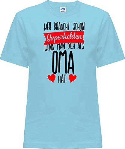Kleckerliese T-shirt à manches courtes pour enfant Motif Nicki avec motif qui a besoin de super-héros quand on vous a besoin en tant que OMA - Bleu - 0 ans