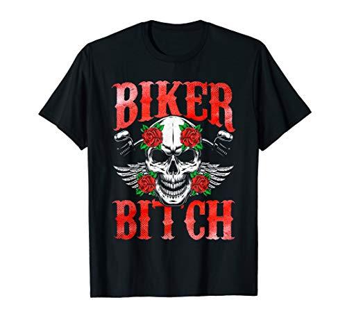 Biker Bitch Schädel Motorrad Rose Sexy Frau Design T-Shirt