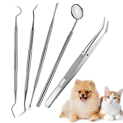 Price comparison product image N2 5 Pieces Dog Dental Tooth Scaler and Scraper Stainless Steel Tools Kit Double Header Tarter Remover / Scraper / Dental Mirror / Tweezers Teeth Cleaning Pick Hygiene Tools for Pet Oral Use