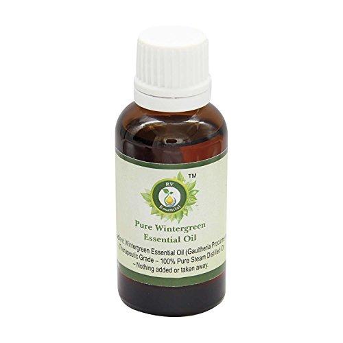 R V Essential Reines Wintergreen Ätherische Öl 30ml (1.01 Unzen) - Gaultheria Procumbens (100% reiner und natürlicher Dampf destilliert) Pure Wintergreen Essential Oil