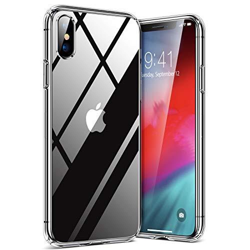TORRAS HD Clear für iPhone X Hülle/iPhone XS Hülle mit Panzerglas [Vergilbungsfrei und Voller Schutz] Schutzhülle Hard PC Back und Soft Silikon Bumper Hülle Handyhülle für iPhone X/XS-Transparent