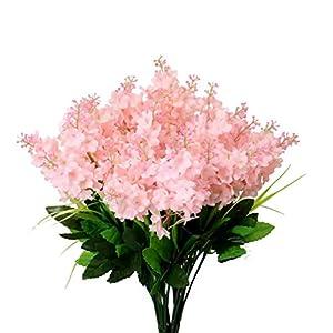 YXYQR Silk Artificial Flowers Bouquet Fake Wisteria Flowers Floral Arrangement for Home Wedding Vase Centerpieces Table Decoration (6 Pack, Pink)