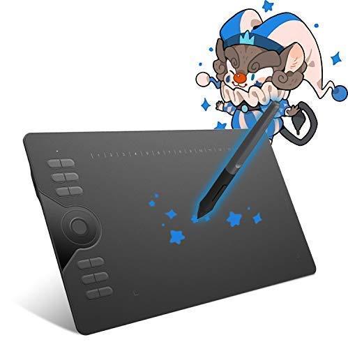 HUION HS610 Tableta Gráfica de Dibujo de 10 x 6,25 Pulgadas, 28 Teclas Rápidas y 1 Anillo Táctil Para Dedo,Uso Ideal para Educación a Distancia y Conferencias (Reacondicionado)