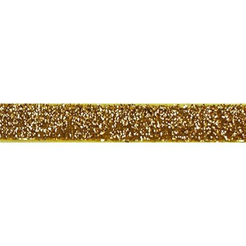 YYCRAFT 5 Yards Glitter 5/8' Elastic Ribbon for Hair Ties Headbands (Gold)