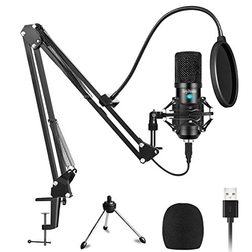 USB Condenser Microphone Kit 192KHZ/24BIT (Mute Button) Plug & Play USB Computer Cardioid Mic Podcast Condenser Microphone with Professional Sound Chipset for PC Karaoke, YouTube, Gaming Recording