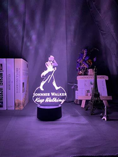 Lámpara 3D Anime Johnnie Walker con luz nocturna LED, funciona con pilas, luz nocturna USB para decoración de bar, dormitorio, decoración de mesita de noche