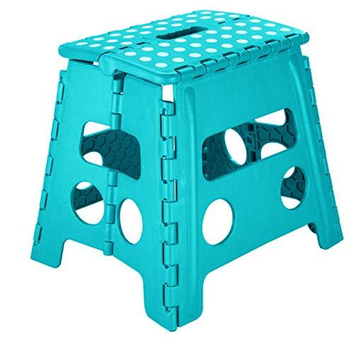SHD Stabiler Klapphocker Kunststoff faltbar, Tritthocker zusammenklappbar | Klapptritt bis 150kg | 2 Farben | Maße aufgestellt: 37 x 30 x 32 cm | Tragbar Rutschfest Platzsparend (Türkis/Weiß)