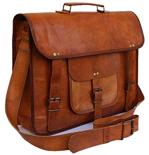 PRASTARA 15 Inch Vintage Men's Leather Handmade Briefcase Best Laptop Messenger Bag Satchel Shoulder Bag Brown