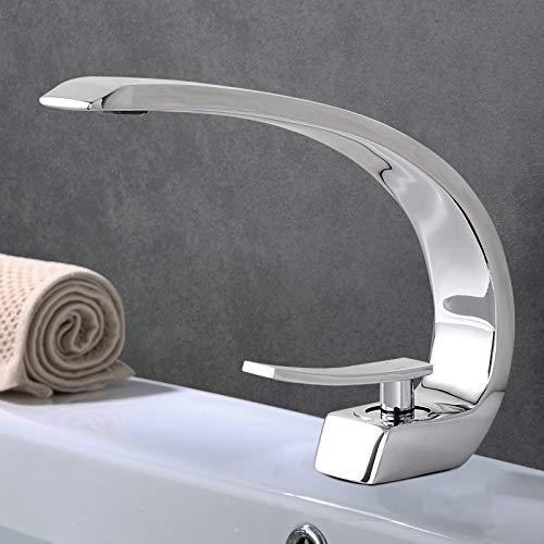Waschtischarmatur für Bad Chrom, Bad Wasserhahn Einhebelmischer, VENTCY Waschtischarmatur Messing, G1/2 Bad Mischbatterie Waschbecken Moderne, Kalt + Warmwasser